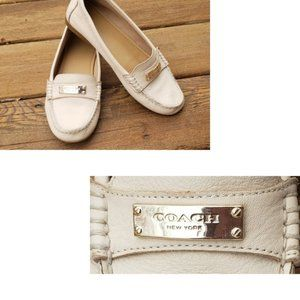 Coach Fredrica Milk Nubuck Leather Flat Loafers 6